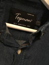 Mens TOPMAN 100% cotton Mid Blue Denim shirt regular fit Size Small Casual VGC