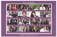 GB Royal Wedding, Prince Harry & Meghan Markle MNH Stamp Sheetlet, 2017, 16 Vals