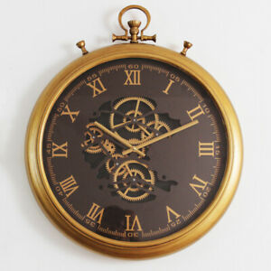 62 Cm Roman Numeral Vintage Gold Moving Gear Wall Clock