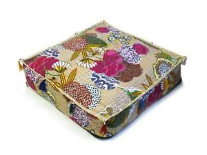 """Indian Cotton Handmade Kantha Pouf Seating 35x35x5"""" Inches Square Ottoman Cover"""