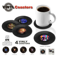 4PCS Creative Vinyl Record Cup Glass Drink Coaster Holder Mat Placemat Tableware