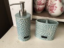 Cynthia Rowley Soap Pump Dispenser AND Toothbrush Ceramic NEW Bathroom Decor