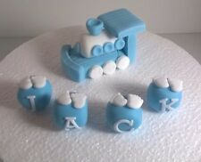 Edible Sugarpaste BABY TRAIN AND NAME Cake Topper BIRTHDAY CHRISTENING