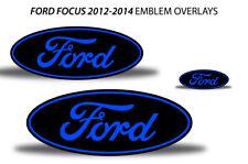 Oval Badge Emblem Logo Overlay Sticker Decals For Ford Focus 2012-2014 BLUE BLK