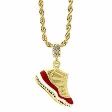 """Mens 14k Gold Plated Hip Hop Retro 11 """"Cherry"""" Pendant 4mm 24"""" Rope Chain"""