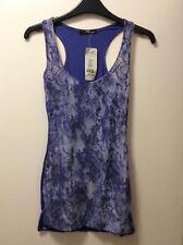Women's Ladies Jane Norman purple white purple lace style vest top size 8 uk