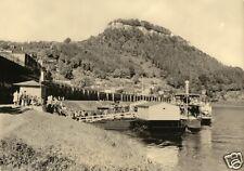 AK, Königstein Sächs. Schweiz, Dampferanleger, Eisenbahndamm und Festung, 1963