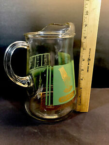 Vintage Glass Drink Bar Pitcher Mid Century Egyptian Themed