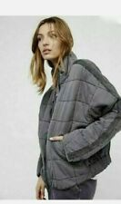 Rare Free People Quilted Dolman Knit Jacket Carbon GRAY Small $198