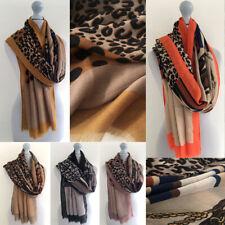 Large Leopard Print Scarf Animal Big Long Cotton Shawl Wrap Chain Horse Buckle