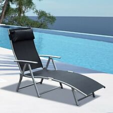 Sun Lounger Recliner Foldable Garden Seating 5 Levels Textilene Brown Patio Lawn