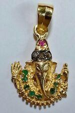 "Natural Emerald Ruby Gemstone Pave Diamond 925 Sterling Silver ""GANESHA"" Pendant"