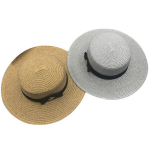 Womens Bee Bow Wide Brim Straw Beach Sun Hat Gold Silver Available