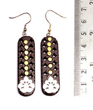 A Pair of Brown & Silver Organic Danglers Ebony Wooden Fashion Earrings SEW_1099
