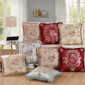 Luxury Printed Jacquard Cushion Covers 18 x 18 in Damask Floral Sofa Pillows