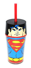 NEW ZAK! SUPERMAN INSULATED TUMBLER 14 OZ. with straw and lid dc super hero cup