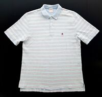 Brooks Brothers Blue Pink Green Striped Cotton Polo Mens Size Large Shirt Rugby