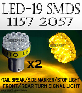 x2 prs 1157 2357 2396 12 SMDs LED Yellow Fit Tail Brake Light Bulbs Lamps E55