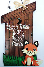 OUTHOUSE Bath Rules FOX SIGN Bathoom Bath Rustic Country Wood Decor Wall Plaque