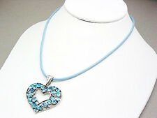 "LV 17"" BLUE CRYSTAL ACRYLIC GEMS SILVER-TONE CLUSTER OPEN HEART NECKLACE NEW"