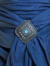 Western Black, Silver Wild Rag Scarf Slide 1-3/4 inch Southwest Turquoise USA