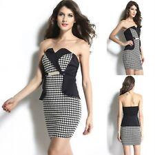 Sz 10 12 Black White Strapless Peplum Sexy Formal Cocktail Party Slim Fit Dress