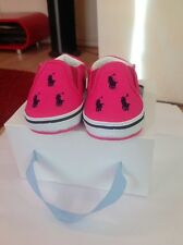 Polo Ralph Lauren Girl's Pink & Navy Polo Spotted Pram Shoes Size 1.5 UK BNIB
