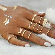 12Pcs/Set Vintage Metal Gold Boho Simple Finger Knuckle Rings Sets Women Jewelry