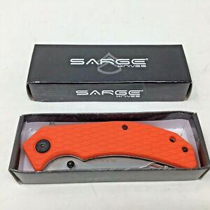 """Sarge Knife~SK-916~4.5""""~Stainless Steel~Folding Blade~Orange~Pocket Clip~NEW~"""