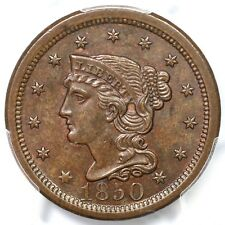 1850 N-18 R-3 PCGS MS 64 BN Braided Hair Large Cent Coin 1c