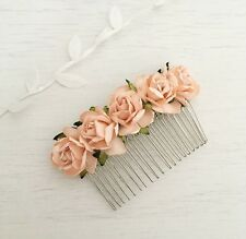Peach PAPER ROSE VINTAGE HAIR COMB-Flower Girl-Sposa-Damigella D'onore