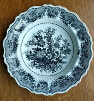Antique Black Transferware Plate Cornucopia 19th c Unmarked-CLEWs?/Copy?  10-3/4