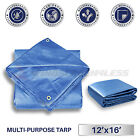 Blue Tarp Reinforced Weather Resistant Strong Poly Tarpaulin Cover Tent Boat