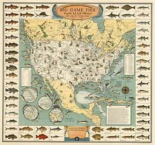 Big Game Fish Map Vintage Fishing Map Poster Giclee Canvas Print 23x22