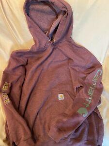 CARHARTT size LARGE  Mens Burgundy-Red Heavy Hoodie Workwear Sweatshirt