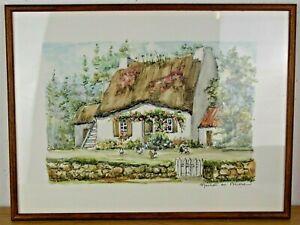 Ancienne Aquarelle Joulain Maison en Brière chaumière Bretagne poules tableau