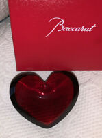 Exquisite BACCARAT France Art Glass ZINZIN Red Crystal HEART Retail $370
