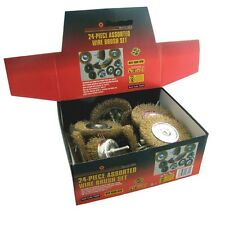HEAVY DUTY 24PC DRILL WIRE WHEEL CUP FLAT BRUSH METAL CLEANING RUST SANDING SET