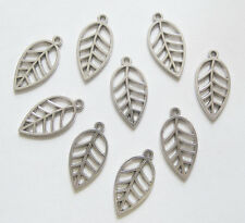 20 Metal Antique Silver Leaf Charms  - 23mm