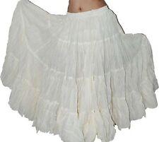 White 25 Yard Long Gypsy Tribal Skirt 100%  cotton Sari Skirts
