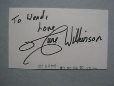 """JUNE WILKINSON (""""The Candidate"""")English Model   Signed   3""""  X  5""""  Index   Card"""