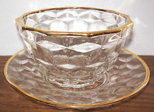 JEANNETTE Cubist Clear Crystal Mayo Bowl & Underplate 24K Rim - ca. 1929-1933