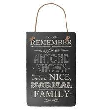Nous sommes une famille normale suspendu ardoise plaque signe cadeau nouveau le dire avec ardoise gamme