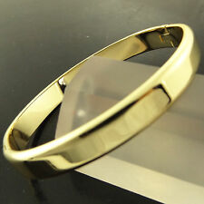 FSA286 GENUINE REAL 18K YELLOW GF GOLD CLASSIC HINGED SOLID CUFF BANGLE BRACELET