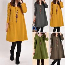 ZANZEA Femme Pull Chaud Elegant Manches longues Casual Loose Dress Robe Plus