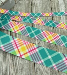 Printed Grosgrain Ribbon 5 Widths in 1/3/5 Yard Teal Pink and Yellow Plaid