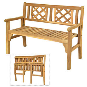 Foldable Garden Acacia Wooden Bench Chair 2 Seater Outdoor Furniture Seating