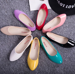 Plus Size Women Ballet Flats Shoes Ladies Leather Soft Casual Loafers Shoes