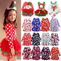 Kids Baby Girls Santa Reindeer Xmas Dress Princess Party Tutu Dress Outfits Set