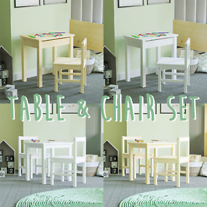 Kids Table Desk Chairs Set Two Seater Children Workstation Storage Solid Pine
